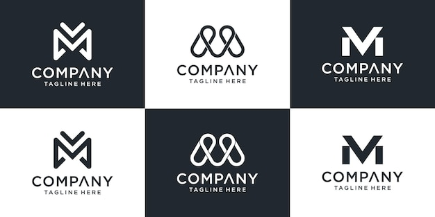 Set of creative monogram letter mv logo template. the logo can be used for business and building company.