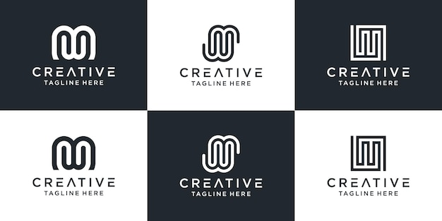 Set of creative monogram letter mw logo abstract design inspiration.