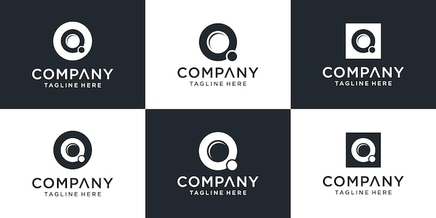 Set of creative monogram letter q logo abstract design
