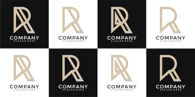 Set of creative monogram letter r logo design template