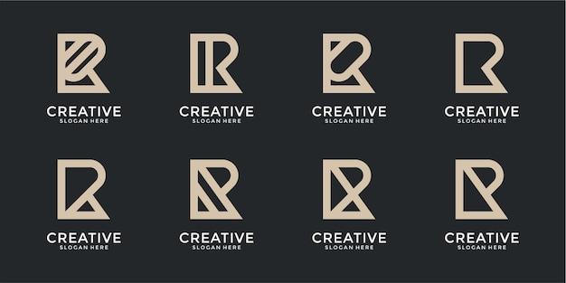 Set of creative monogram letter r logo template