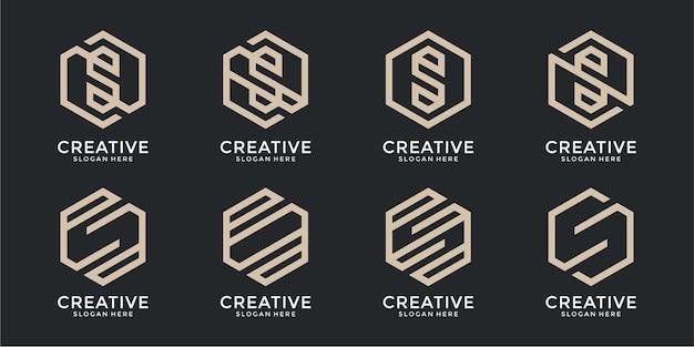 Set of creative monogram letter s logo design template