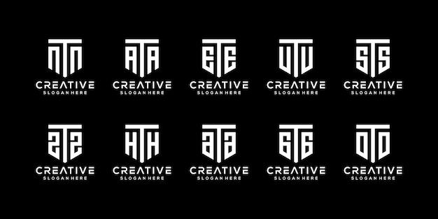 Set of creative monogram letter t logo design template
