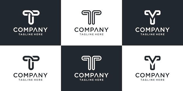 Set of creative monogram letter t logo template.