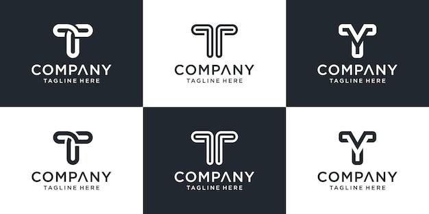 Set of creative monogram letter t logo template.