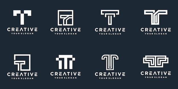 Set of creative monogram letter t logos