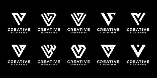 Set of creative monogram letter v logo design template.