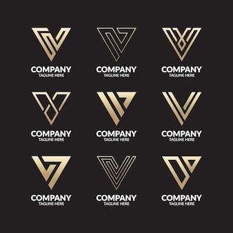 Set of creative monogram letter v logo template