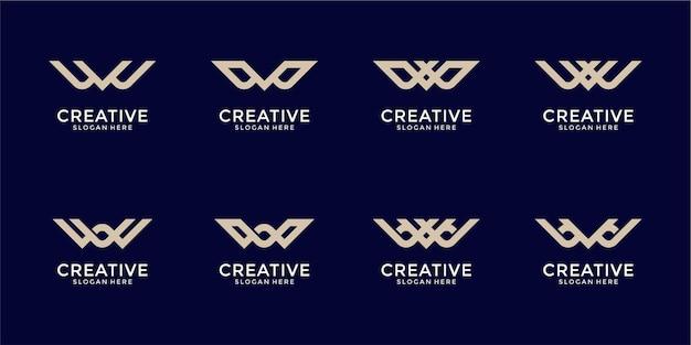 Set of creative monogram letter w logo abstract design inspiration