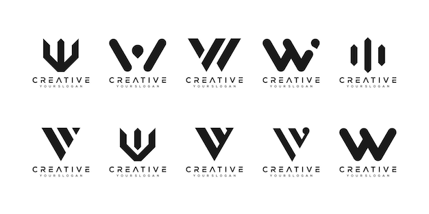 Set of creative monogram letter w logo design template. the logo can be used for building company.