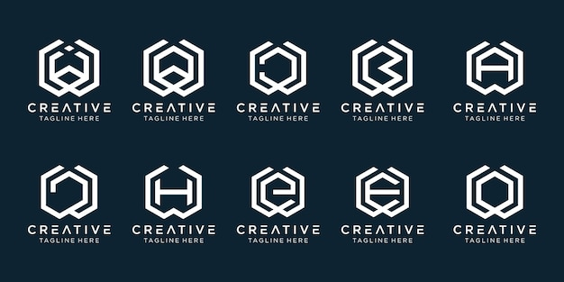 Set of creative monogram letter w logo template