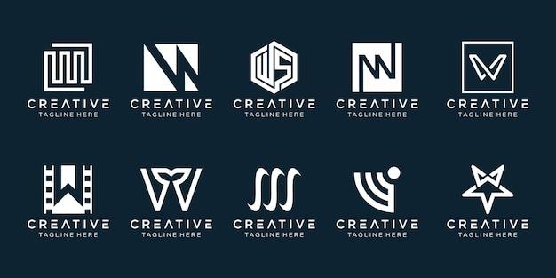 Set of creative monogram letter w logo template.