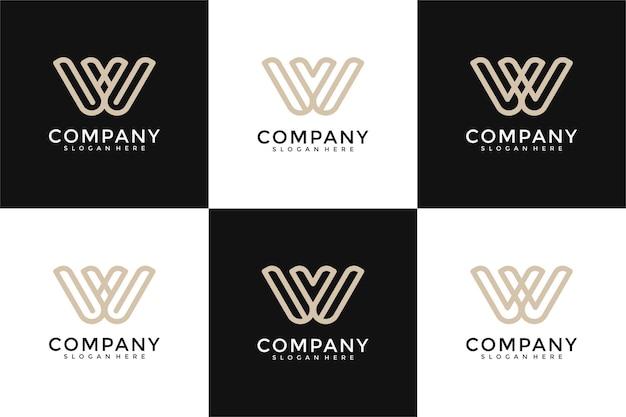 Set of creative monogram letter w v logo design template