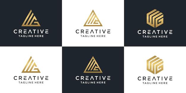 Set of creative monogram letter wg logo gold template.