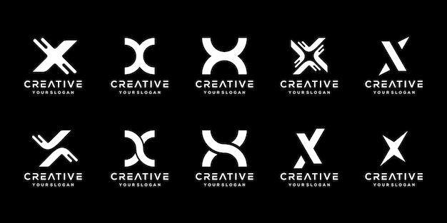 Set of creative monogram letter x logo design template.