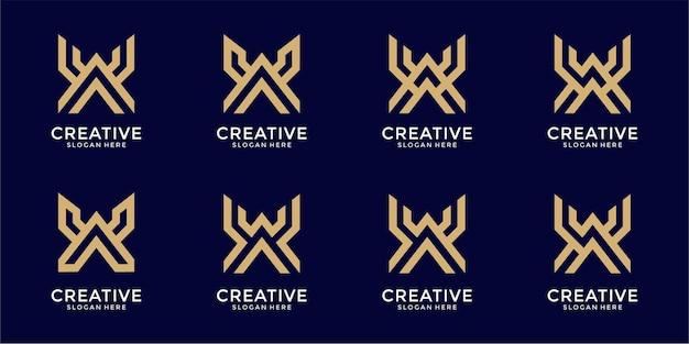 Set of creative monogram letter x logo design template