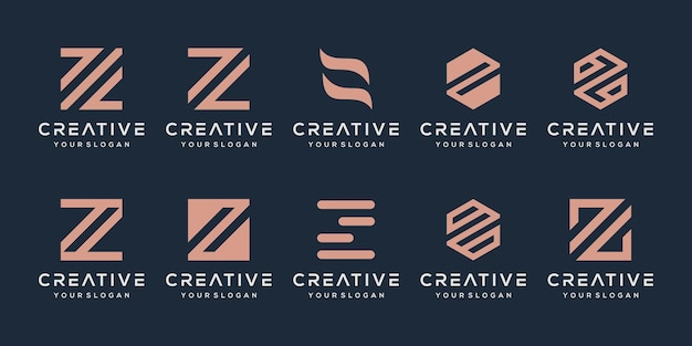 Set of creative monogram letter z logo design template.