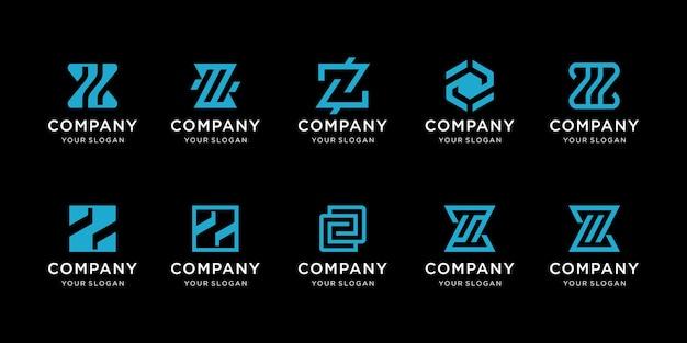 Set of creative monogram letter z logo template