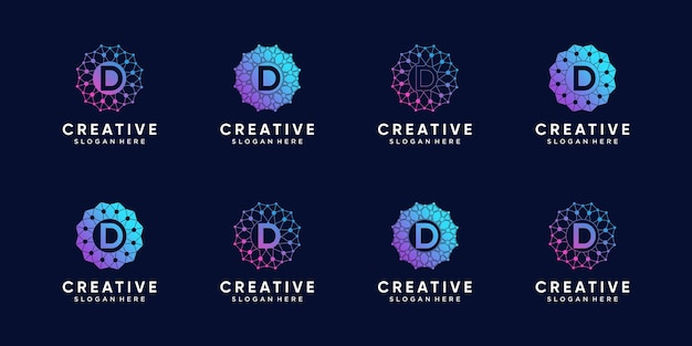 Set of creative monogram logo design technology initial letter d with line art and dot style. premium vector