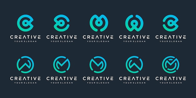 Set of creative monogram logo design template icons for business of luxury simple