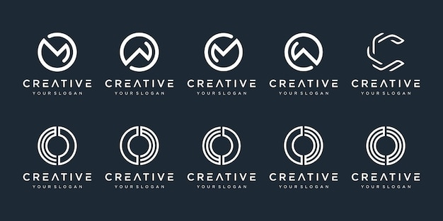 Set of creative monogram logo design template icons for business of technology digital simple