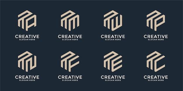 Set of creative monogram logo design template