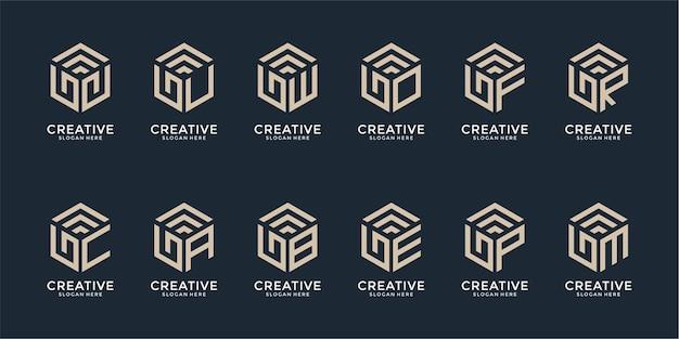 Set of creative monogram logo design template Premium Vector