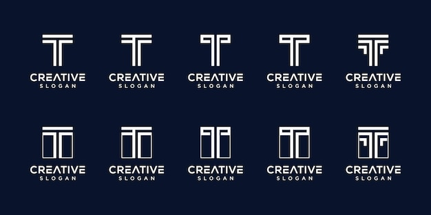Set of creative monogram logo letter t template