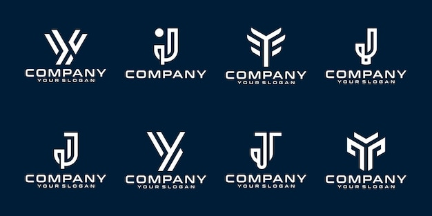 Set of creative monogram logo templates