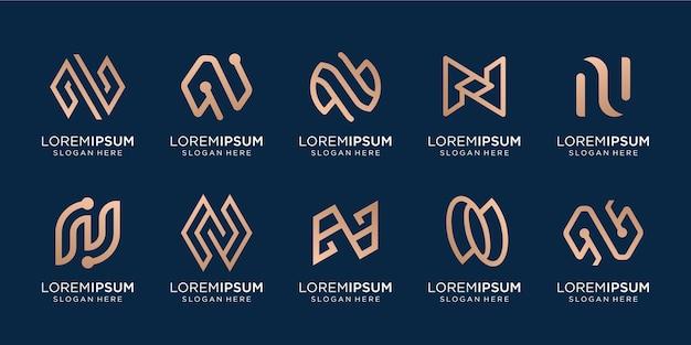 Set of creative monogram n vector template