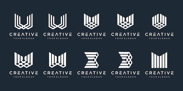 Set of creative monogram with lines modern and elegant
