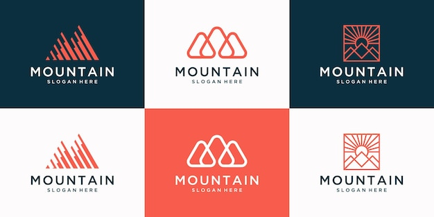 Set of creative mountain logo with abstract initial m logo design collection.