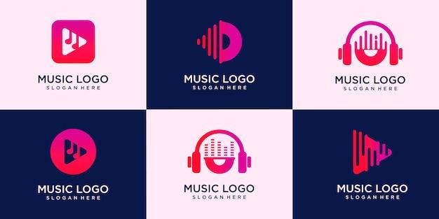 Set of creative music logo. for modern business company brand logo design illustration.