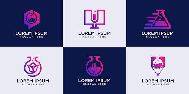 Set of creative orbit labor lab, study lab and food lab abstract logo design template illustration