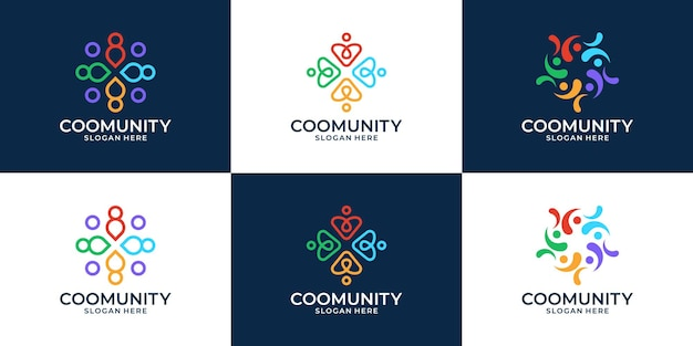 Set of creative people family and human unity logo collection