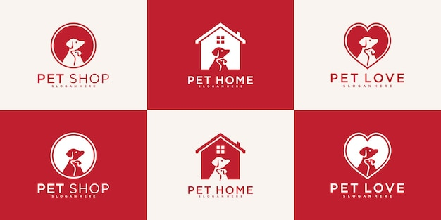 Set of creative pet dog logo design with modern and cool concept  premium vekto