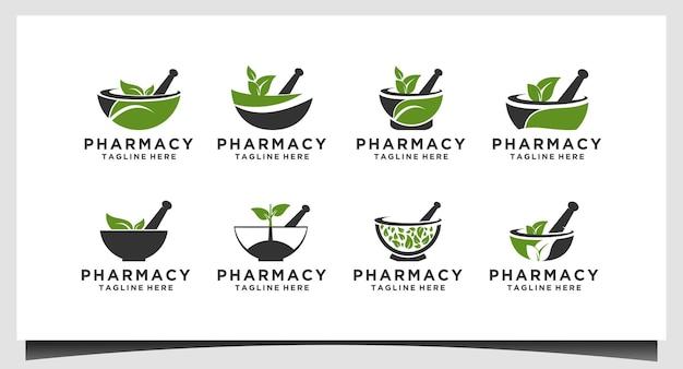 Набор творческих аптек концепции дизайна логотипа