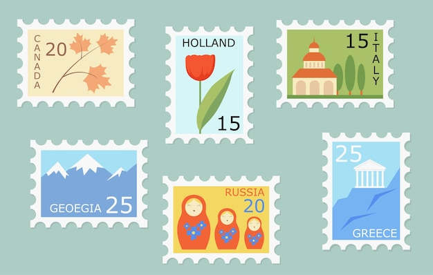 Set of creative post stamps with different countries landmarks and symbols.