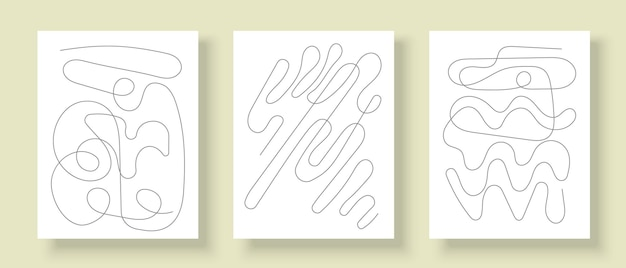 Set of creative posters for wall decoration abstract line art design for covers
