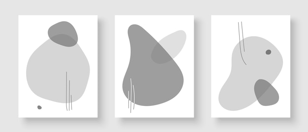 Set of creative posters for wall decoration in modern minimalist art style