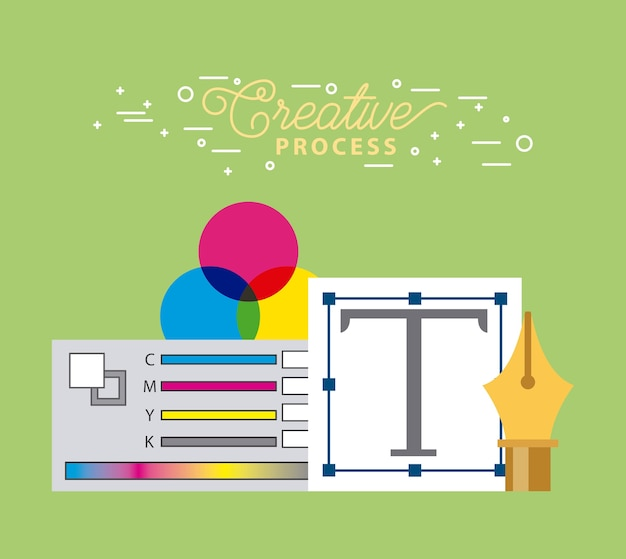 Set creative process graphic desing tools