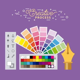Set creative process working tools graphic design