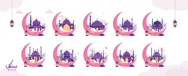 Set of creative ramadan islamic design illustration arabic calligraphy text, lantern and crescent moon for the muslim celebration of fasting. web landing page template, banner and social media.