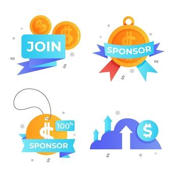 Set di etichette di sponsorizzazione creative