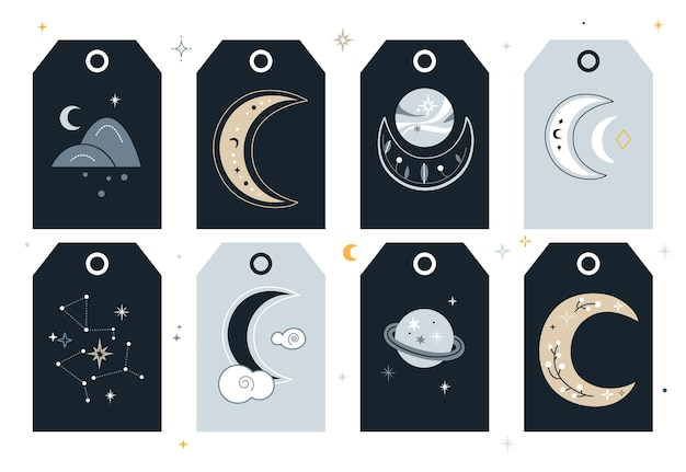 Set of creative tags with crescent moon and planets.