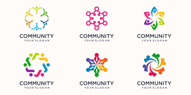 Set of creative teamwork icon logo design template. team of four people together icon isolated