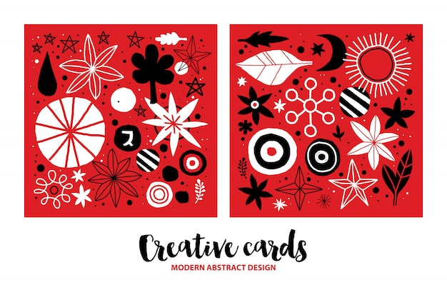 Set of creative templates with flowers and abstract hand drawn elements