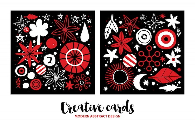 Set of creative templates with flowers