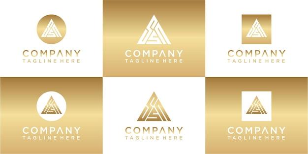 Set of creative triangle monogram gold logo design