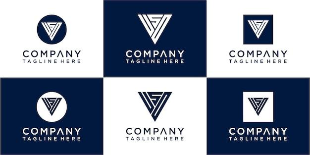 Set of creative triangle monogram logo design